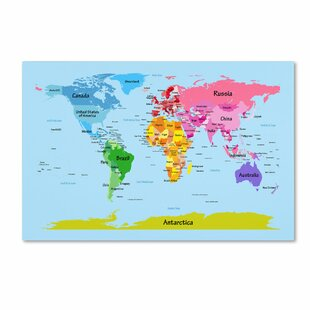 World map push pin wayfair world map for kids graphic art on wrapped canvas gumiabroncs Image collections