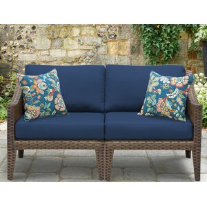 Manhattan Outdoor Wicker Loveseat with Cushions