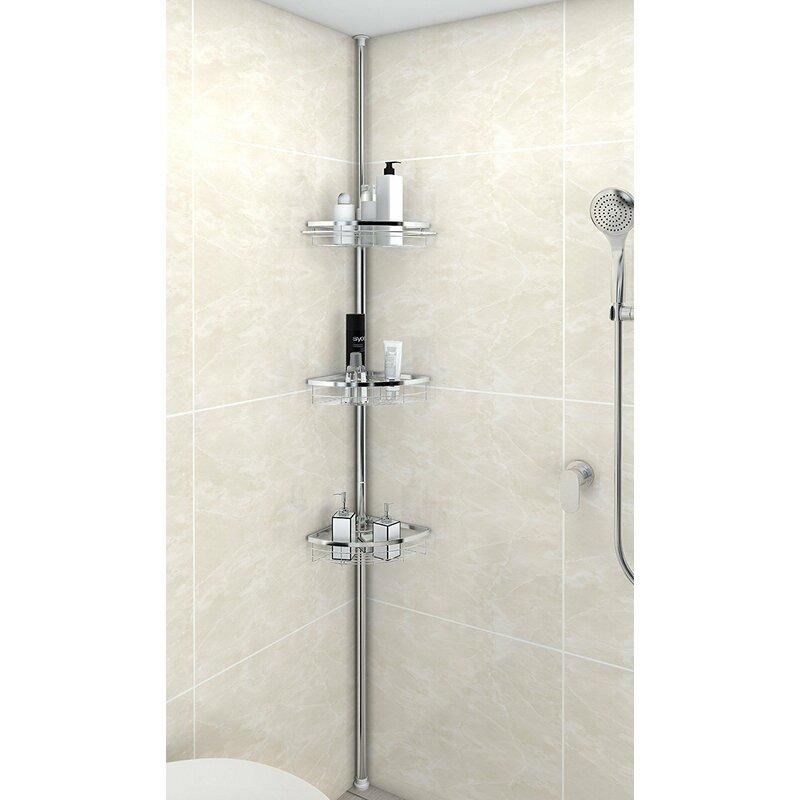 Rebrilliant Anne Adjustable 3 Tier Tension Bathroom Shower Caddy ...