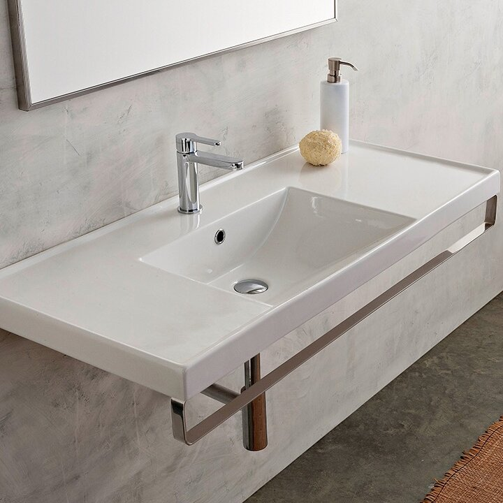 "scarabeonameeks ml 48"" wall mounted bathroom sink with"