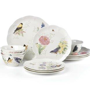 Butterfly Meadow Flutter 12 Piece Dinnerware Set Service for 4  sc 1 st  Wayfair & Dinnerware Sets With Birds | Wayfair