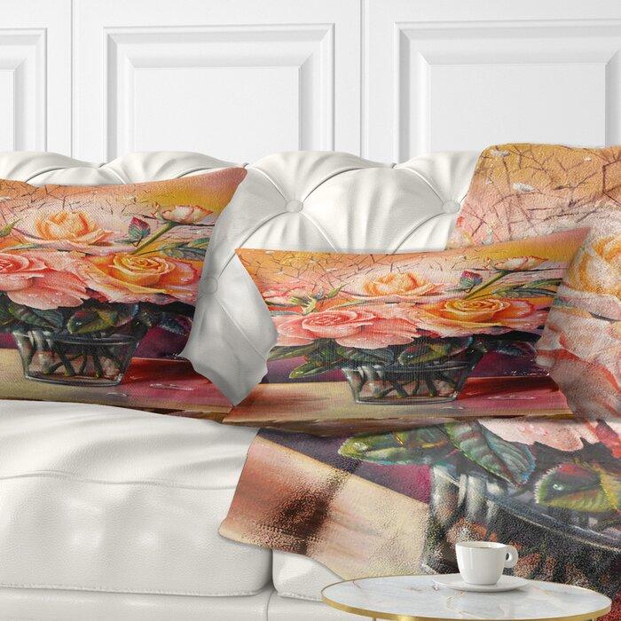 e426aa0aadea East Urban Home Floral Roses on Marble Table Lumbar Pillow