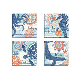 North Shore Octopus by Jennifer Brinley 4 Piece Graphic Art on Wrapped Canvas Set