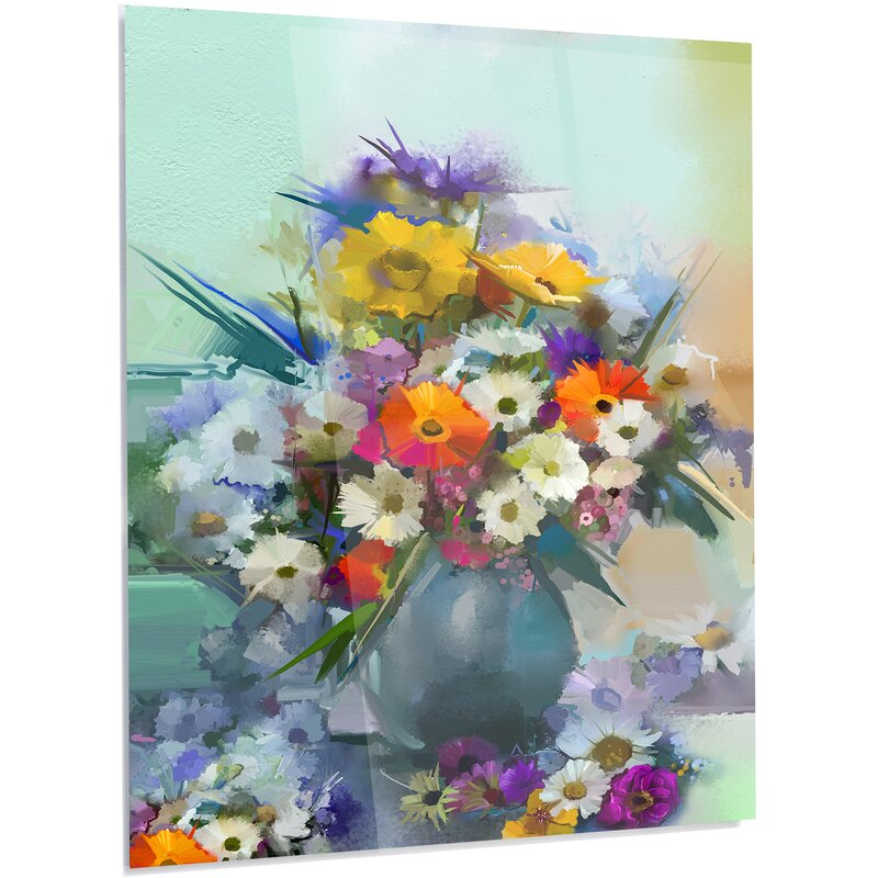 DesignArt \'Hand-painted Bunch of Small Flowers\' LED Painting Print ...
