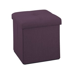 Tindall Folding Burgundy Storage Ottoman by Andover Mills