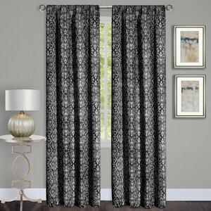 Madison Damask Semi-Sheer Rod Pocket Single Curtain Panel
