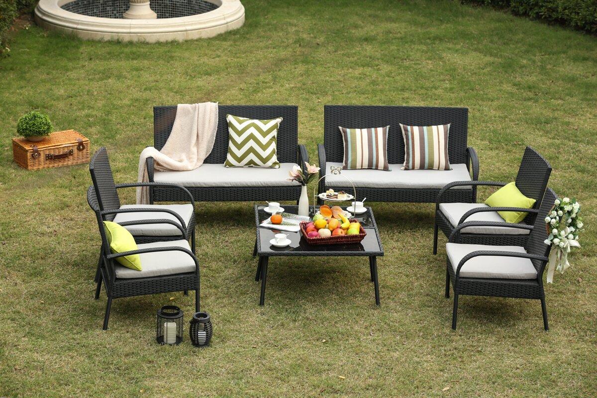 Auclair Wicker Patio 8 Piece Rattan Conversation Set With Cushions