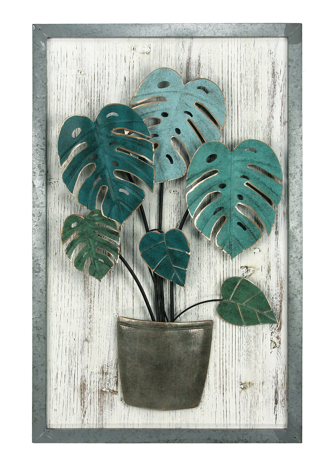 Arden Metal Palm Leaf Wood Wall Decor