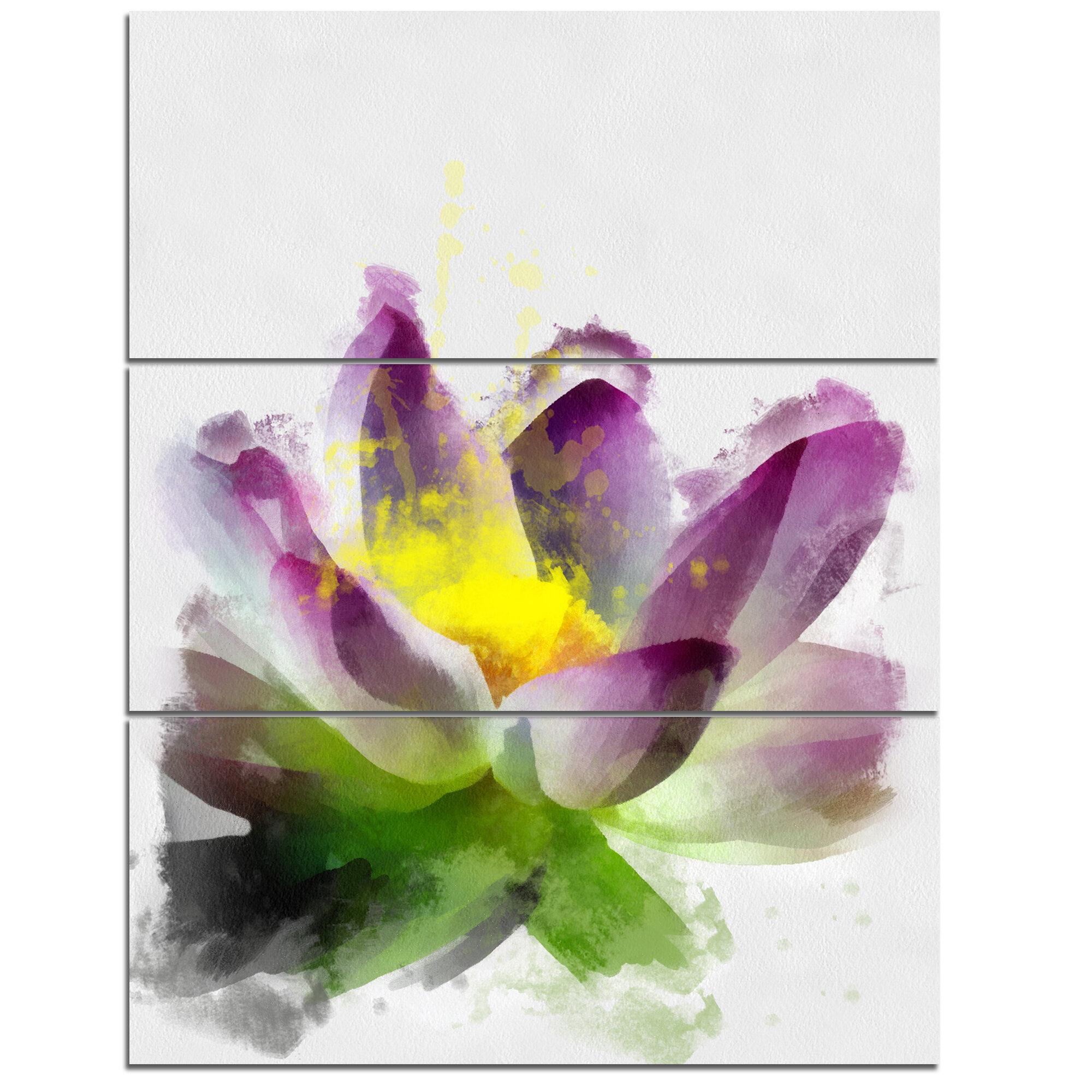 Designart Lotus Flower Watercolor Sketch 3 Piece Painting Print On