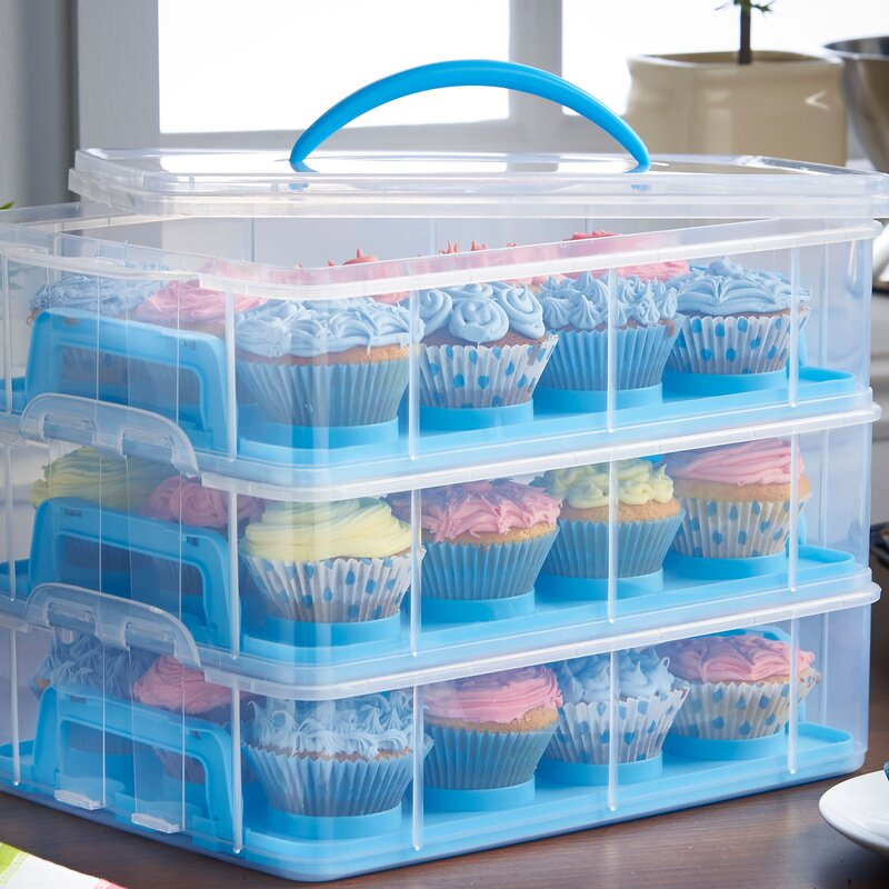 Cupcake Canisters For Kitchen: VonShef 3 Tier Cupcake Holder And Carrier Container