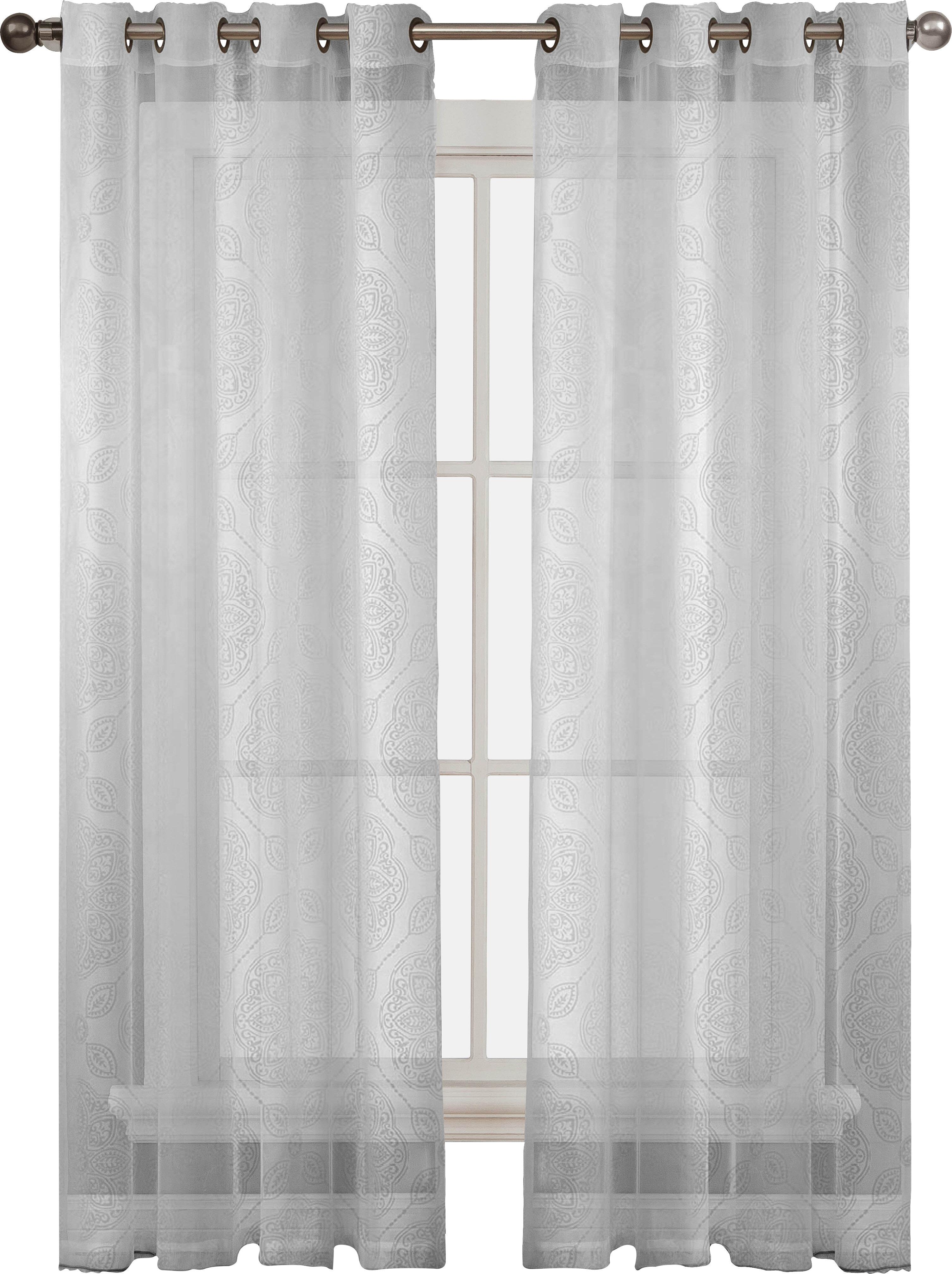 Window Elements Diamante Damask Sheer Grommet Curtain Panels ...
