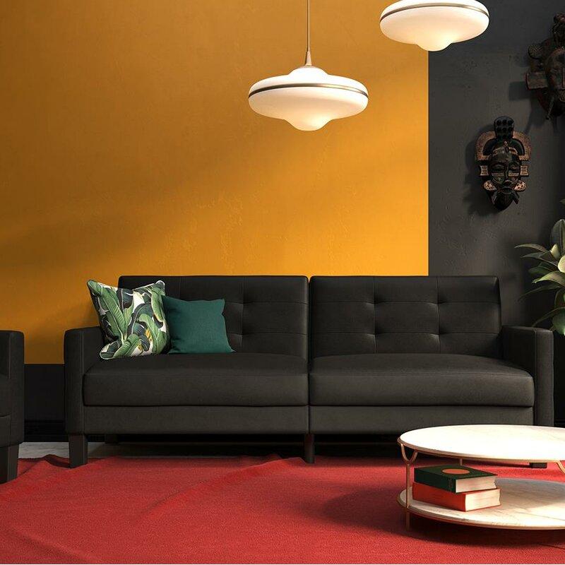 Ebern Designs Anabelle Faux Leather Convertible Sofa Reviews Wayfair