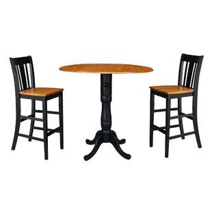 Naugatuck Round Top Pedestal Extending 3 Piece Pub Table Set