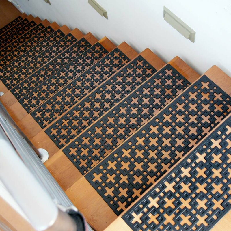 Attractive Stars Recycled Rubber Step Stair Tread Mat Set