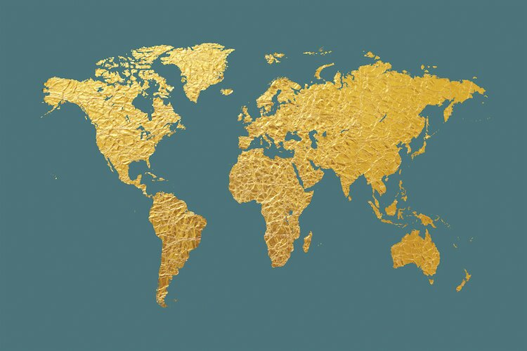 East urban home world map series gold foil on ocean blue graphic world map series gold foil on ocean blue graphic art on wrapped canvas gumiabroncs Images