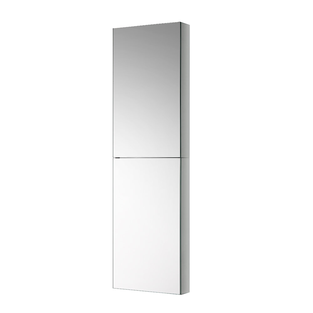 Fresca Tall Bathroom 15 X 52 Recessed Or Surface Mount Frameless Medicine Cabinet With 2 Adjule Shelves Reviews Wayfair