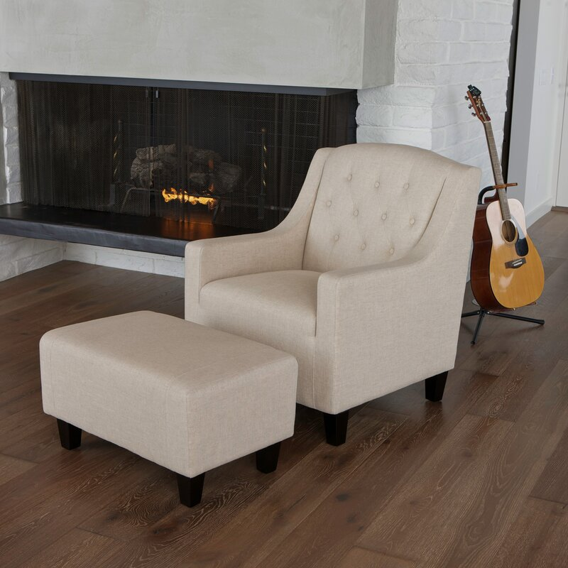Upholstered Chair And Ottoman alcott hill bloomington upholstered armchair and ottoman & reviews