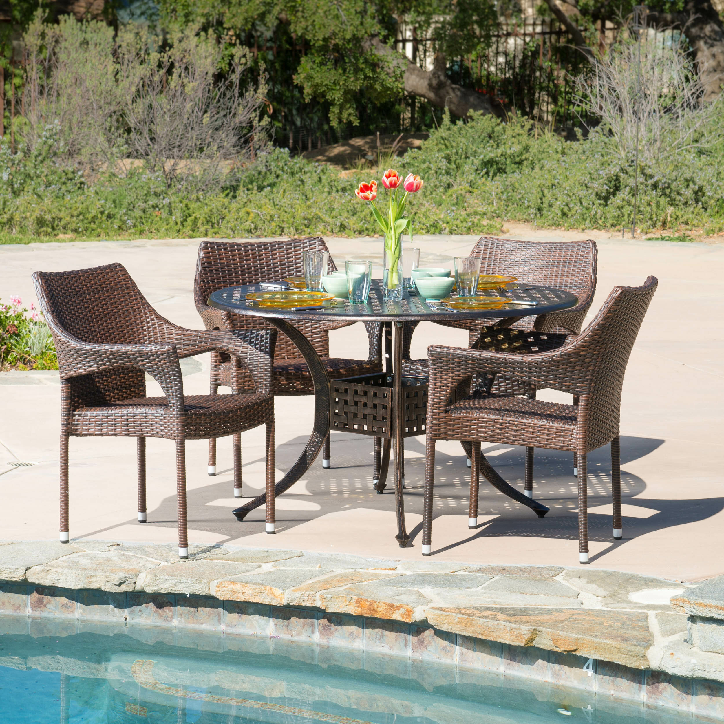 Mercury Row Dingman 5 Piece Outdoor Dining Set U0026 Reviews | Wayfair