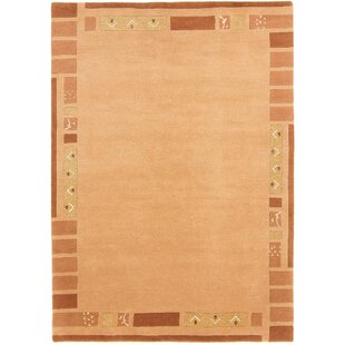 Kerstetter Hand-Knotted Wool Orange Rug by Charlton Home