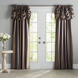 Hallman Ruched Faux Silk Taffeta Thermal Rod Pocket Single Curtain Panel