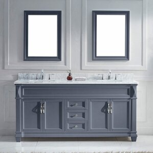 vanity double sink 72. Victoria 72  Double Bathroom Vanity Set with White Marble Top and Mirror Inch Vanities You ll Love Wayfair