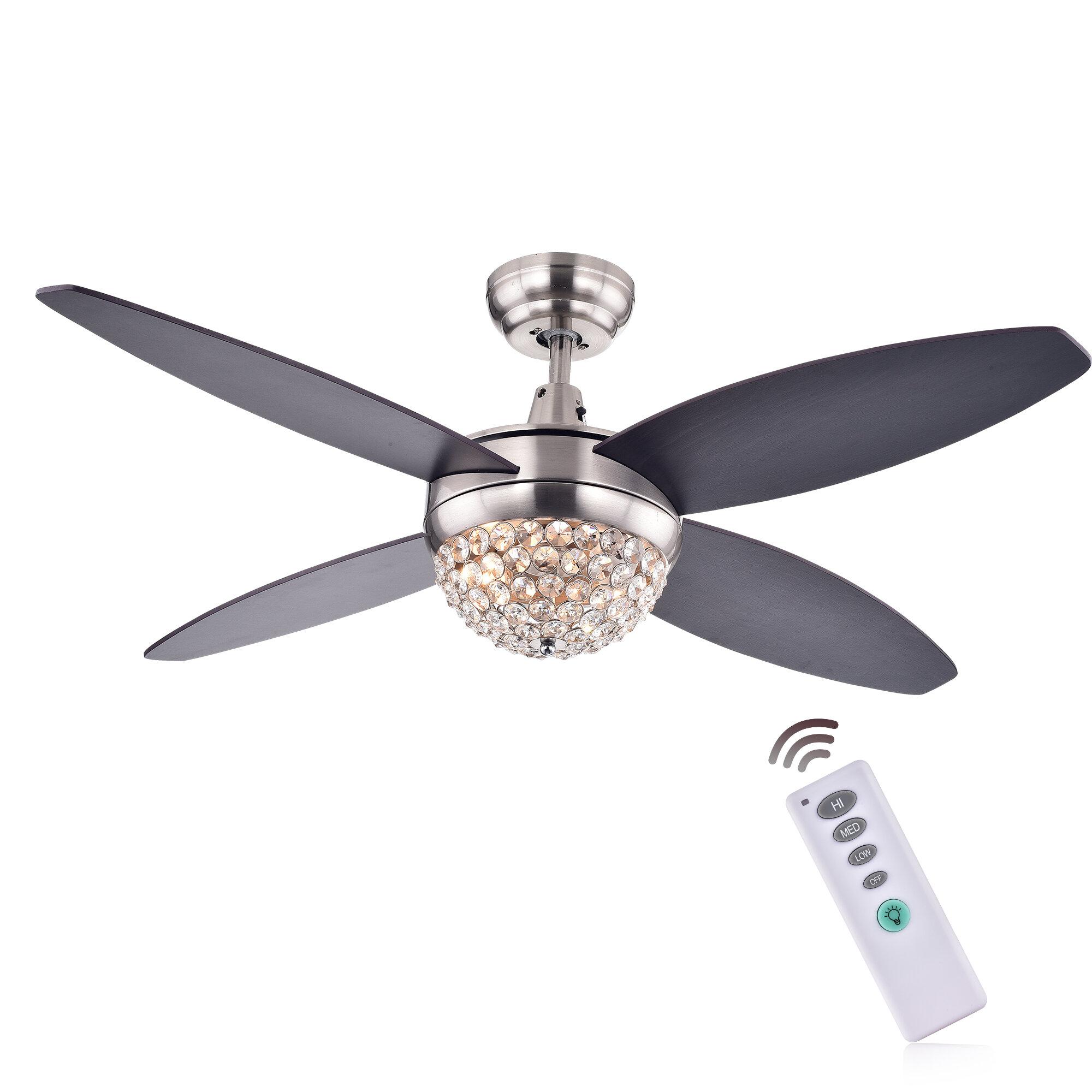 "Rosdorf Park 52"" Aurora 2 Light Wood Crystal 4 Blade Ceiling Fan"