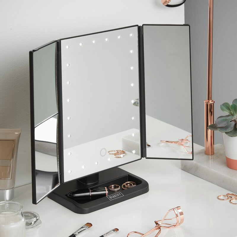 Beautify Led Lighted Vanity Trifold Makeup Shaving Mirror