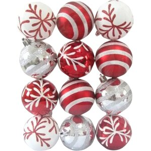 Red and White Ball Ornament with Snowflake and Line Glitter Design (Set of 2)