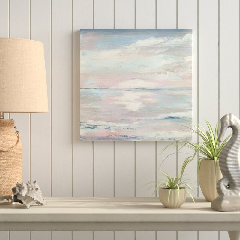 "36"" H x 36"" W Blue/White 'Ocean Sunset' Watercolor Painting Print on Wrapped Canvas"