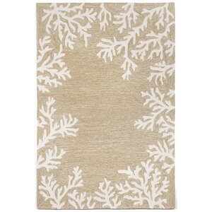Claycomb Coral Border Neutral Indoor/Outdoor Area Rug
