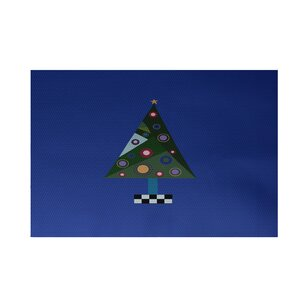 Crazy Christmas Decorative Holiday Print Royal Blue Indoor/Outdoor Area Rug