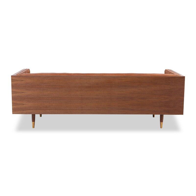 Charming Carey Mid Century Modern Box Leather Sofa