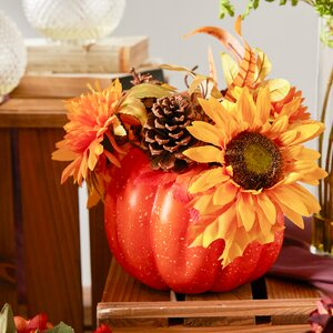 Autumn Harvest Artificial Pumpkin with Sunflowers Mums and Pine Cones Decoration