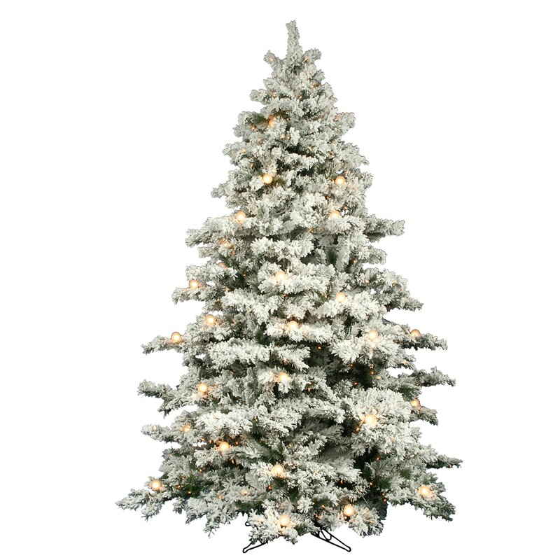 flocked alaskan 9 white artificial christmas tree with 900 dura lit and g50 clear - White Fake Christmas Trees