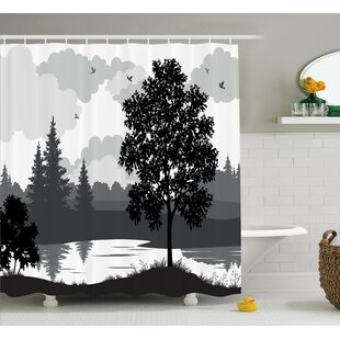 Burrell Nature Theme Landscape With Trees Birds A Cloudy Sky And The River Shower Curtain