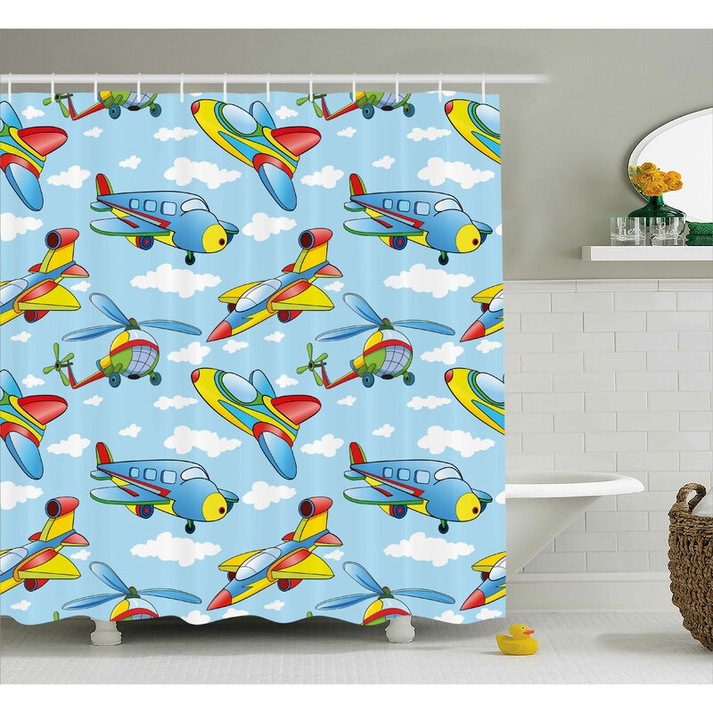 Erna Kids Cartoon Planes And Helicopters Shower Curtain