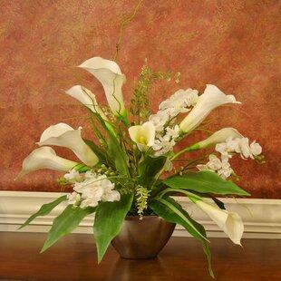 Outdoor hanging silk flowers wayfair calla lily and orchid silk flower arrangement mightylinksfo