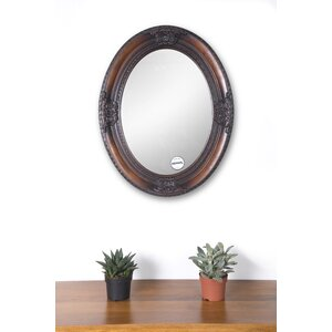Oval Wood Frame Wall Mirror