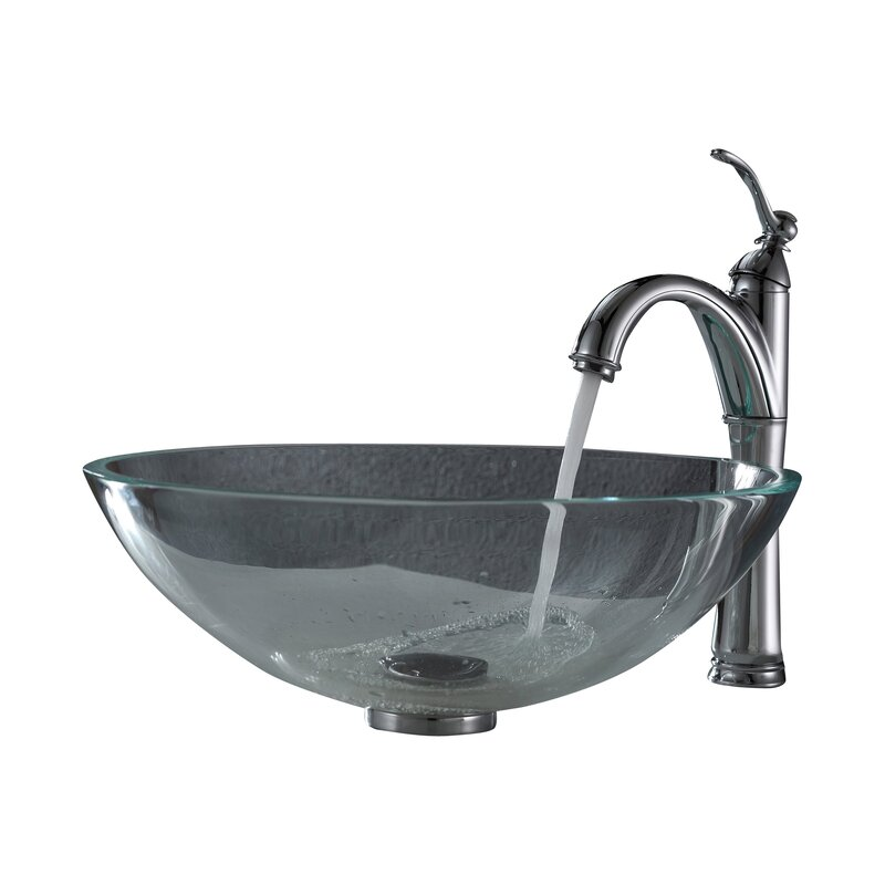 Crystal Glass Circular Vessel Bathroom Sink