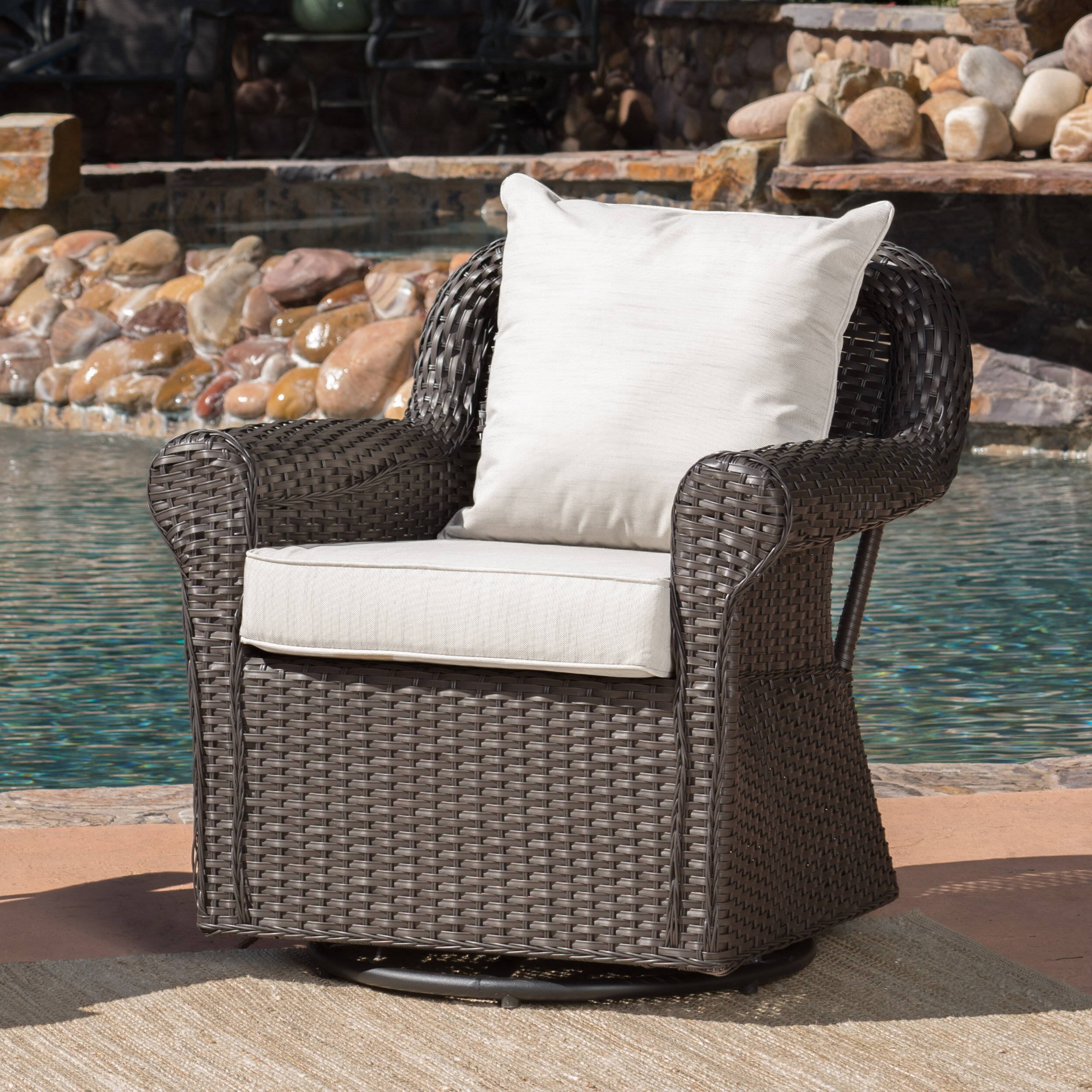 Darby Home Co Cecilio Outdoor Swivel Rocking Chair   Wayfair