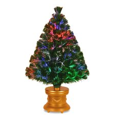 """Fiber Optics Evergreen Firework 3"""" Green Artificial Christmas Tree with Multicolor Lights with Base"""