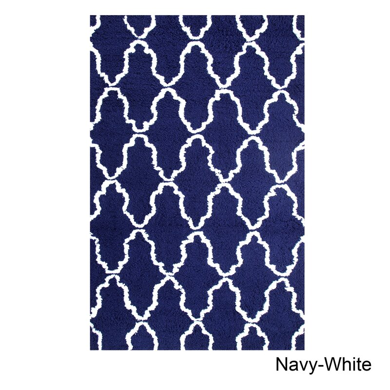 Famous Simple Luxury Superior Trellis Hand-Woven Navy Blue/White Area Rug  OC49