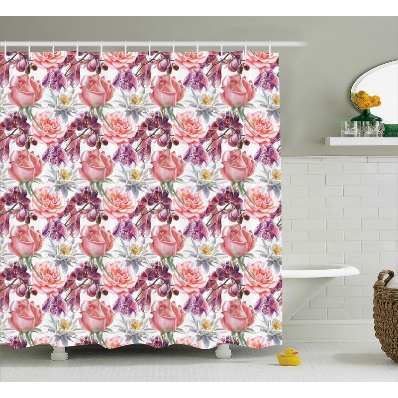 Anjali Rose And Lily Flowers Shower Curtain