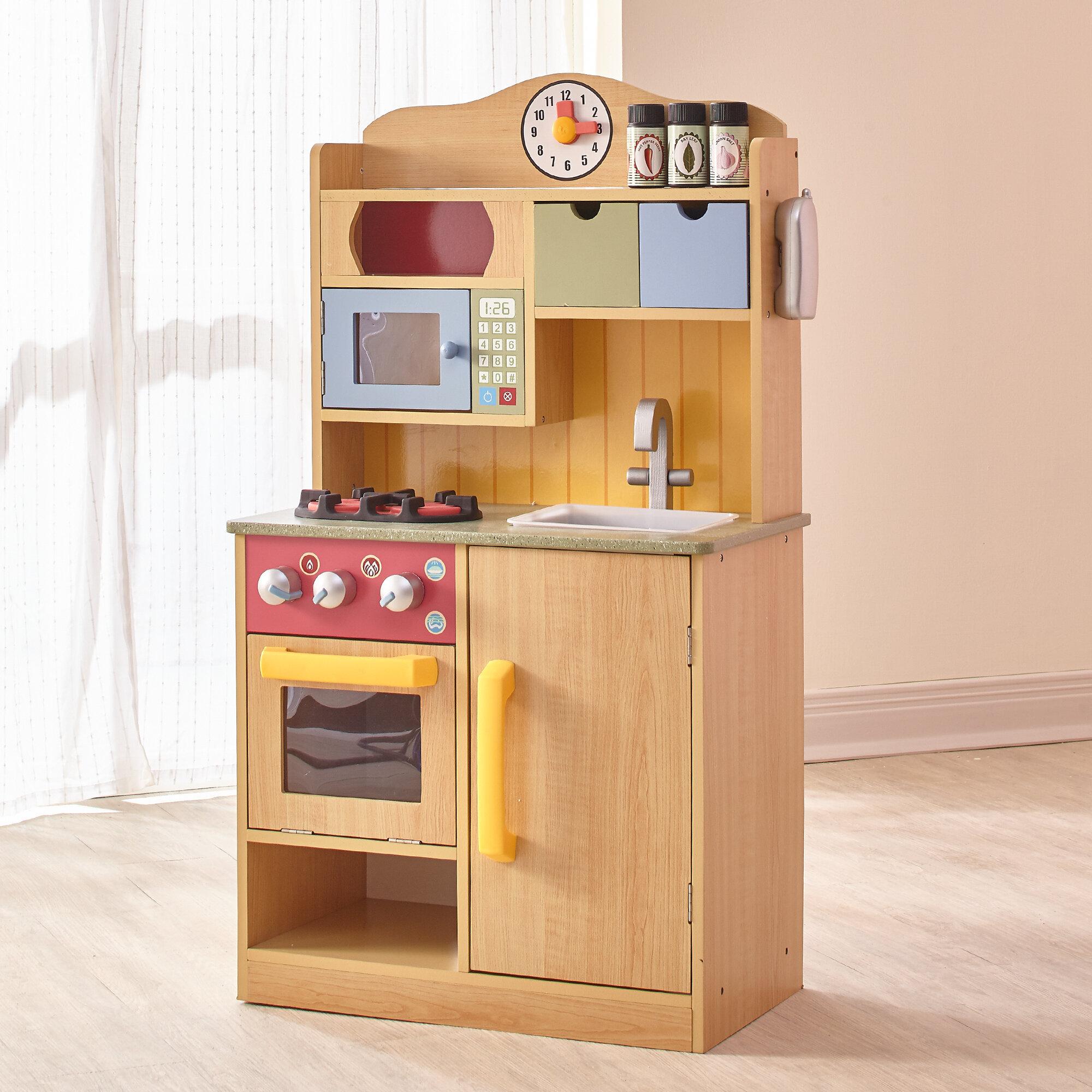 teamson kids 5 piece little chef wooden play kitchen set with accessories reviews wayfair - Wooden Kitchen Set