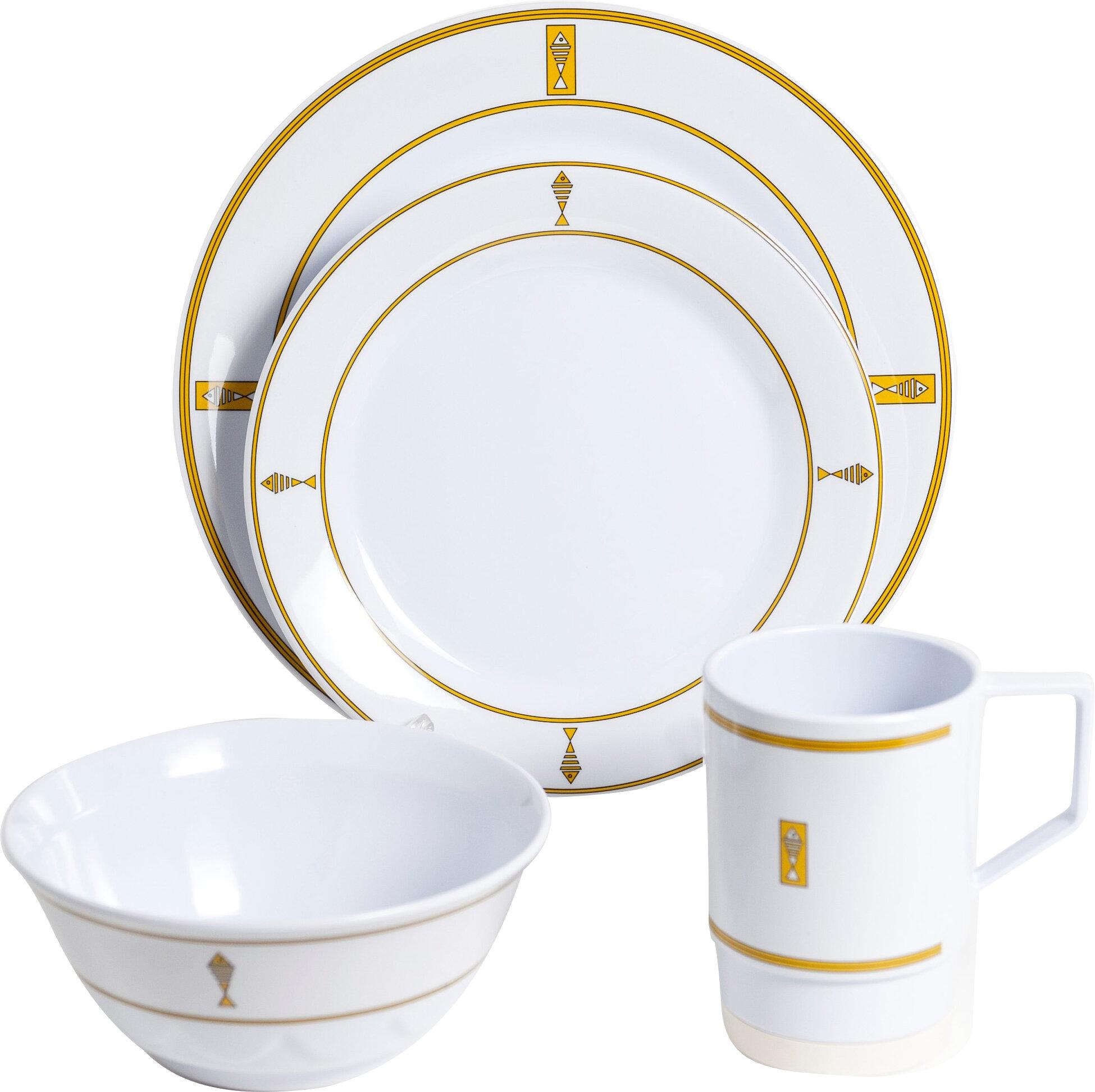 Galleyware Company Decorated Melamine Fish 24 Piece Dinnerware Set Service for 6 | Wayfair  sc 1 st  Wayfair & Galleyware Company Decorated Melamine Fish 24 Piece Dinnerware Set ...