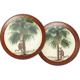 2 Piece Monkey and Palm Tree Plate Set  sc 1 st  Wayfair : palm tree dinnerware - pezcame.com
