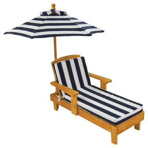 Kids Chaise Lounge with Cushion and Umbrella