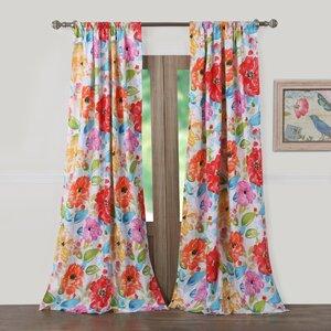 Sevan Nature/Floral Sheer Rod Pocket Curtain Panel (Set of 2)