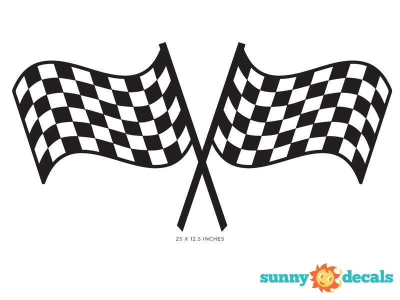 Racing Checkered Flags Fabric Wall Decal