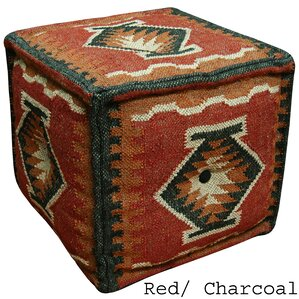 Red & Charcoal Handmade Kilim Puff Ottoman by Herat Oriental